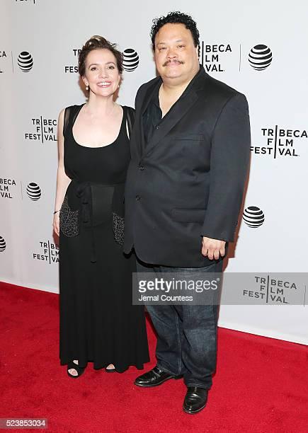 Domenica Cameron Scorsese and Adrian Martinez attend the Almost Paris Premiere at Chelsea Bow Tie Cinemas on April 24 2016 in New York City