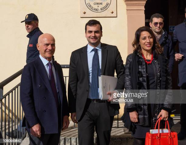 Domenico Bagnato, Prefect, Carlo Sibilia Undersecretary of the Interior, Elisa Scutellà Member of the Parliament, on a visit to Corigliano in...