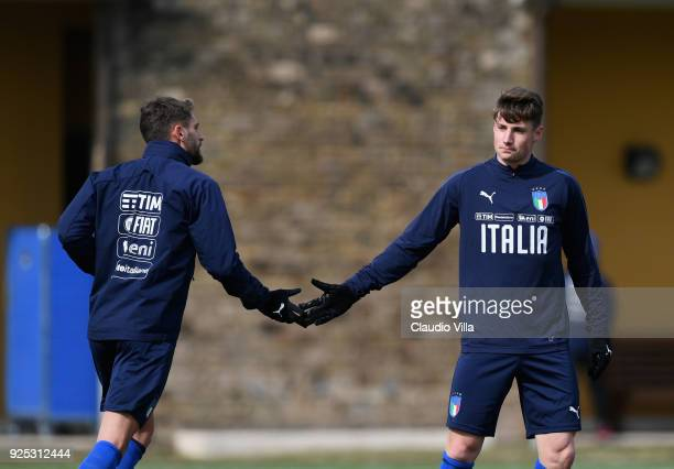 Domenico Berardi and Andrea Pinamonti of Italy celebrate during the friendly match between Italy and Fiorentina U19 at Coverciano on February 28 2018...