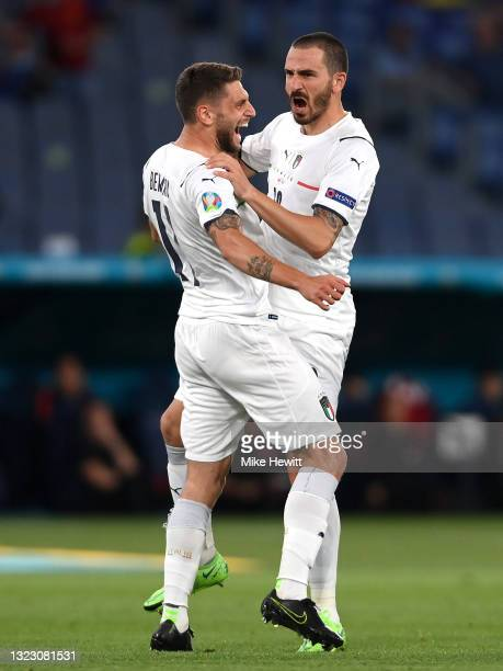 Domenico Berardi and Leonardo Bonucci of Italy celebrate their side's first goal, an own goal by Merih Demiral of Turkey during the UEFA Euro 2020...