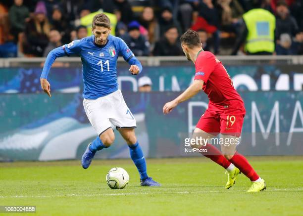 Domenico Berardi during the Nation League match between Italia v Portogallo in Milan Giuseppe Meazza Stadio on November 17 2018