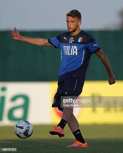 Domenico Berardi in action during an Italy U21 training session on October 7 2014 in Rome Italy