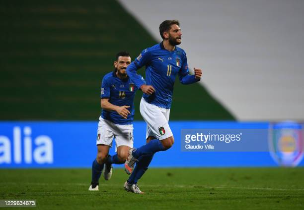 Domenico Berardi of Italy celebrates after scoring the goal during the UEFA Nations League group stage match between Italy and Poland at Mapei...