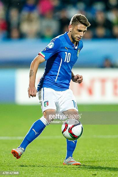 Domenico Berardi of Italy controls the ball during the UEFA Under21 European Championship 2015 match between Italy and Portugal at Mestsky Fotbalovy...