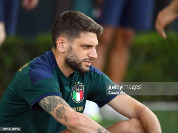 Domenico Berardi of Italy in action during an Italy training session at Centro Tecnico Federale di Coverciano on June 13, 2021 in Florence, Italy.