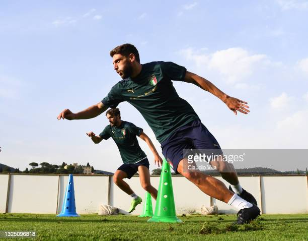 Domenico Berardi of Italy in action during an Italy training session at Centro Tecnico Federale di Coverciano on June 23, 2021 in Florence, Italy.