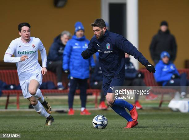 Domenico Berardi of Italy in action during the friendly match between Italy and Fiorentina U19 at Coverciano on February 28 2018 in Florence Italy