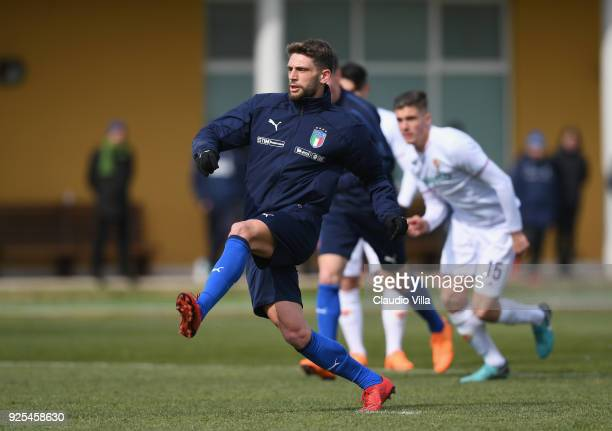 Domenico Berardi of Italy in action during the frienldy match between Italy and Fiorentina U19 at Coverciano on February 28 2018 in Florence Italy