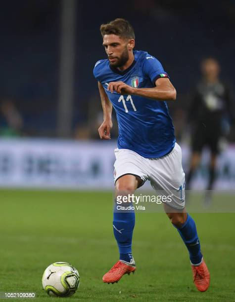 Domenico Berardi of Italy in action during the International Friendly match between Italy and Ukraine on October 10 2018 in Genoa Italy