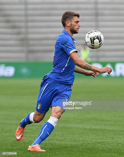 Domenico Berardi of Italy in action during the UEFA U21 Championship Playoff second leg match between Italy and Slovakia at Mapei Stadium on October...