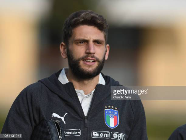 Domenico Berardi of Italy looks on before training session at Centro Tecnico Federale di Coverciano on November 13 2018 in Florence Italy