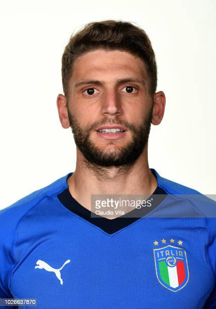 Domenico Berardi of Italy poses during the official portrait session at Centro Tecnico Federale di Coverciano on September 4 2018 in Florence Italy