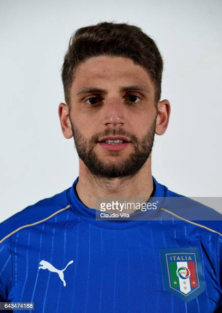 Domenico Berardi of Italy poses during the official portrait session at Coverciano on February 21 2017 in Florence Italy