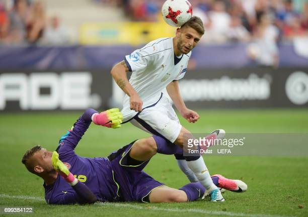 Domenico Berardi of Italy scores his sides first goal past Michael Luftner of Czech Republic during the UEFA European Under21 Championship Group C...