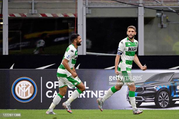 Domenico Berardi of Sassuolo celebrates 22 with Gregoire Defrel of Sassuolo during the Italian Serie A match between Internazionale v Sassuolo at the...