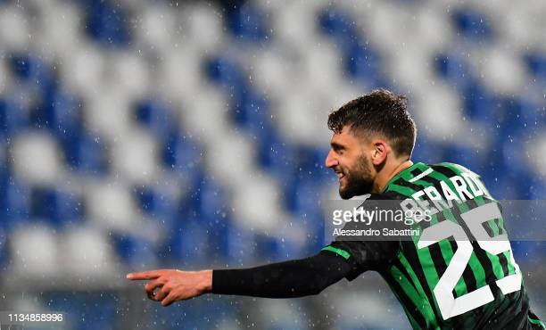 Domenico Berardi of Sassuolo celebrates after scoring the 40 goal during the Serie A match between US Sassuolo and Chievo at Mapei Stadium Citta' del...