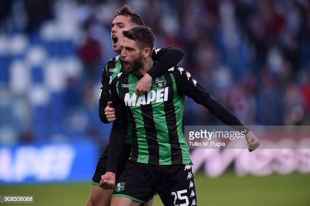 Domenico Berardi of Sassuolo celebrates after scoring the equalizing goal during the serie A match between US Sassuolo and Torino FC at Mapei Stadium...