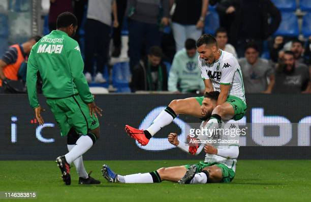 Domenico Berardi of Sassuolo celebrates after scoring the opening goal during the Serie A match between Atalanta BC and US Sassuolo at Mapei Stadium...