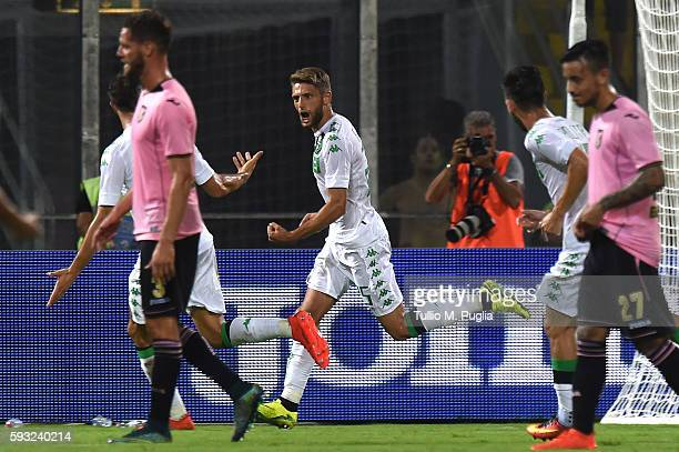 Domenico Berardi of Sassuolo celebrates after scoring the penalty during the Serie A match between US Citta di Palermo and US Sassuolo at Stadio...