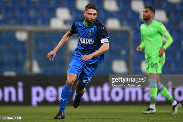 Domenico Berardi of Sassuolo celebrates after scoring their team's second goal during the Serie A match between US Sassuolo and SS Lazio at Mapei...
