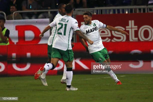 Domenico Berardi of Sassuolo celebrates his goal 11 during the serie A match between Cagliari and US Sassuolo at Sardegna Arena on August 26 2018 in...