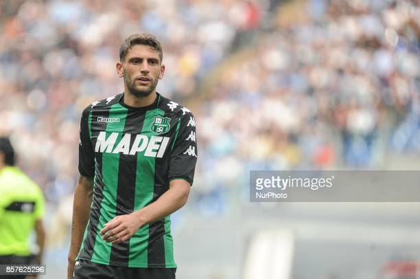 Domenico Berardi of Sassuolo in action during the Serie A match between SS Lazio and US Sassuolo at Stadio Olimpico on October 1 2017 in Rome Italy