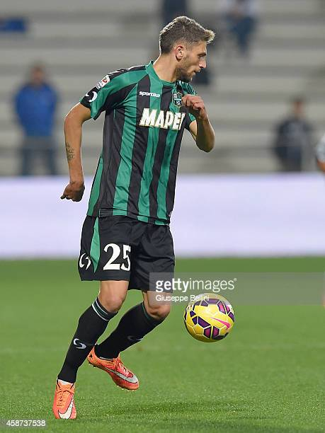 Domenico Berardi of Sassuolo in action during the Serie A match between US Sassuolo Calcio and Atalanta BC at Mapei Stadium on November 8 2014 in...
