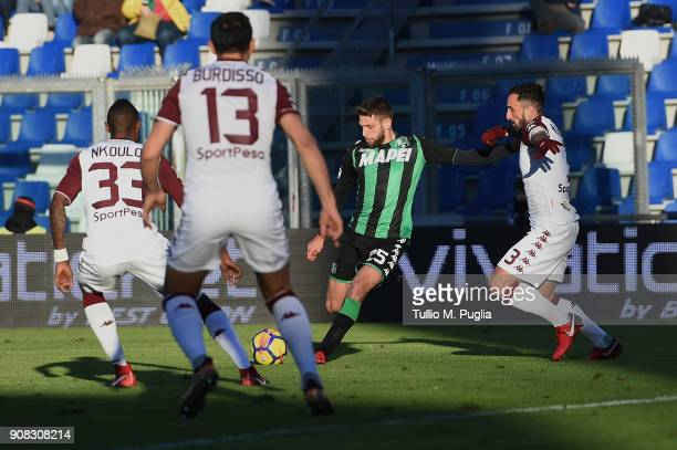 Domenico Berardi of Sassuolo scores the equalizing goal during the serie A match between US Sassuolo and Torino FC at Mapei Stadium Citta' del...