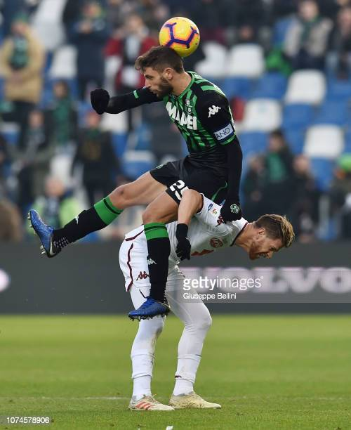 Domenico Berardi of US Sassuolo and Cristian Ansaldi of Torino FC in action during the Serie A match between US Sassuolo and Torino FC at Mapei...