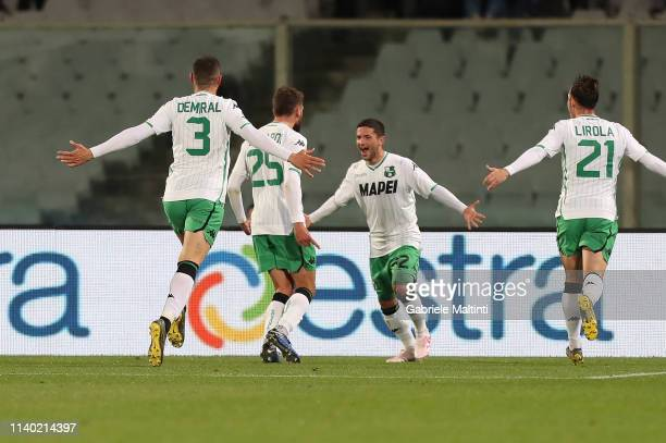 Domenico Berardi of US Sassuolo Calcio celebrates after scoring a goal during the Serie A match between ACF Fiorentina and US Sassuolo at Stadio...