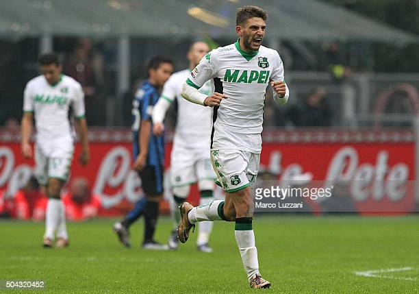Domenico Berardi of US Sassuolo Calcio celebrates after scoring the opening goal during the Serie A match between FC Internazionale Milano and US...