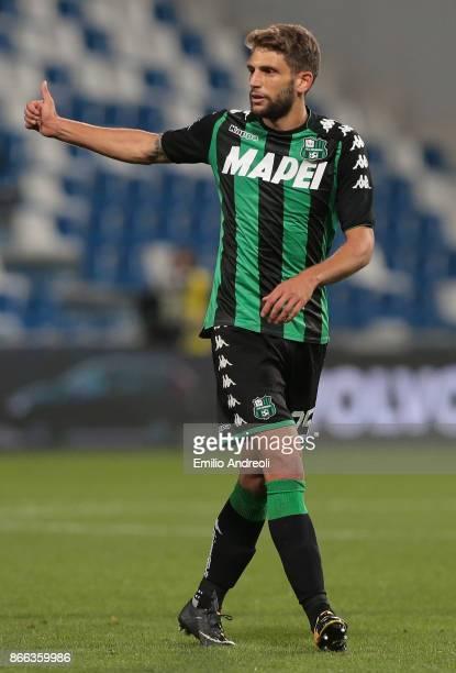 Domenico Berardi of US Sassuolo Calcio gestures during the Serie A match between US Sassuolo and Udinese Calcio at Mapei Stadium Citta' del Tricolore...