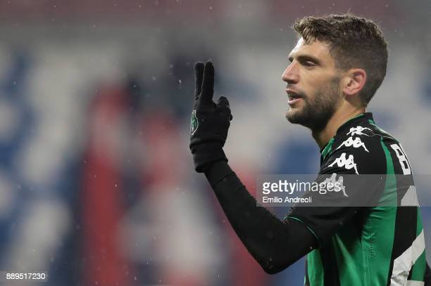 Domenico Berardi of US Sassuolo Calcio gestures during the Serie A match between US Sassuolo and FC Crotone at Mapei Stadium Citta' del Tricolore on...