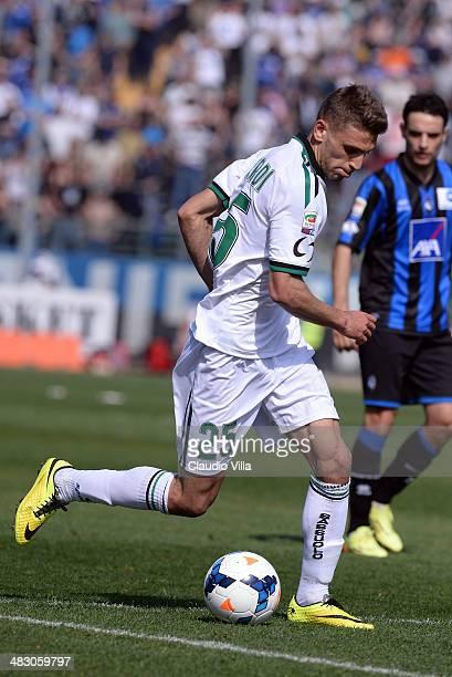 Domenico Berardi of US Sassuolo Calcio in action during the Serie A match between Atalanta BC and US Sassuolo Calcio at Stadio Atleti Azzurri...