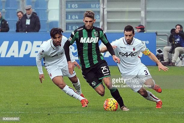 Domenico Berardi of US Sassuolo Calcio in action during the Serie A match between US Sassuolo Calcio and Bologna FC at Mapei Stadium Città del...