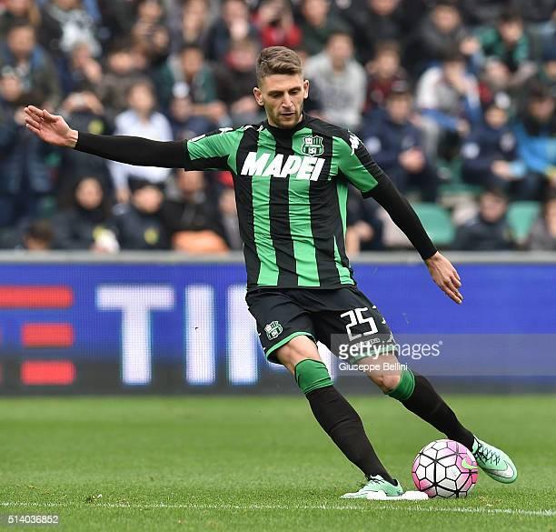 Domenico Berardi of US Sassuolo Calcio in action during the Serie A match between US Sassuolo Calcio and AC Milan at Mapei Stadium Città del...