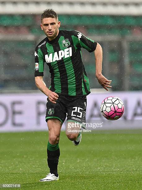 Domenico Berardi of US Sassuolo Calcio in action during the Serie A match between US Sassuolo Calcio and Genoa CFC at Mapei Stadium Citta del...
