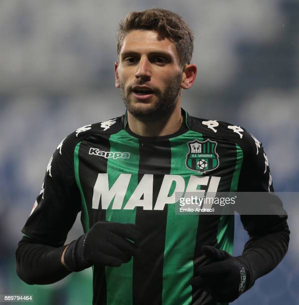 Domenico Berardi of US Sassuolo Calcio looks on during the Serie A match between US Sassuolo and FC Crotone at Mapei Stadium Citta' del Tricolore on...