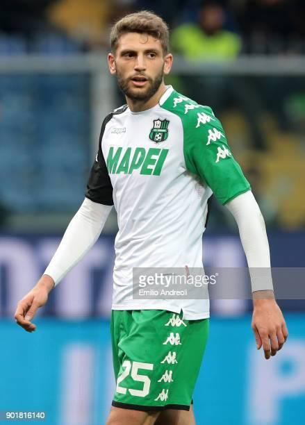 Domenico Berardi of US Sassuolo Calcio looks on during the serie A match between Genoa CFC and US Sassuolo at Stadio Luigi Ferraris on January 6 2018...