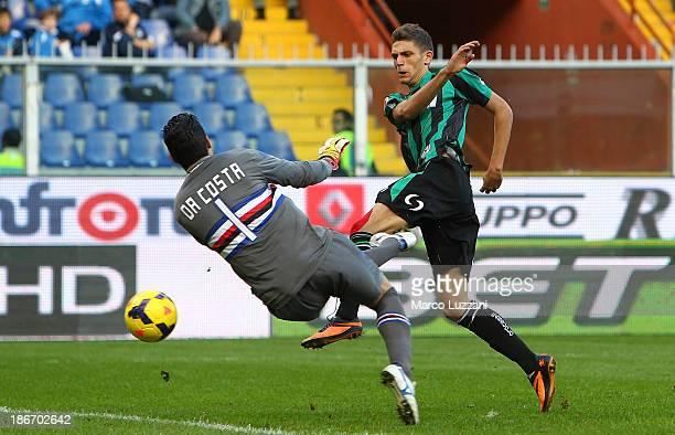 Domenico Berardi of US Sassuolo Calcio scores his first goal during the Serie A match between UC Sampdoria v US Sassuolo Calcio at Stadio Luigi...