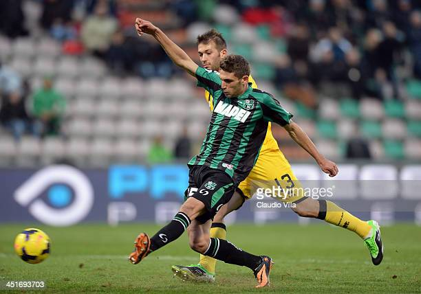 Domenico Berardi of US Sassuolo Calcio scores the second goal during the Serie A match between US Sassuolo Calcio and Atalanta BC on November 24 2013...