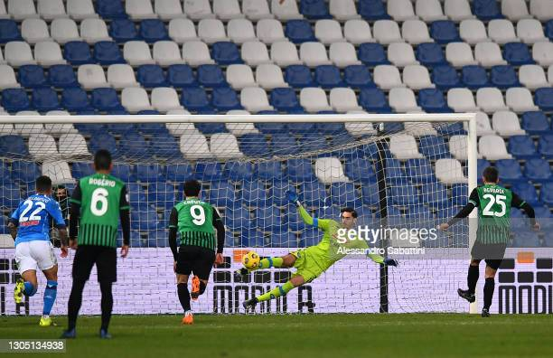 Domenico Berardi of U.S. Sassuolo Calcio scores their sides second goal from the penalty spot past Alex Meret of SSC Napoli during the Serie A match...