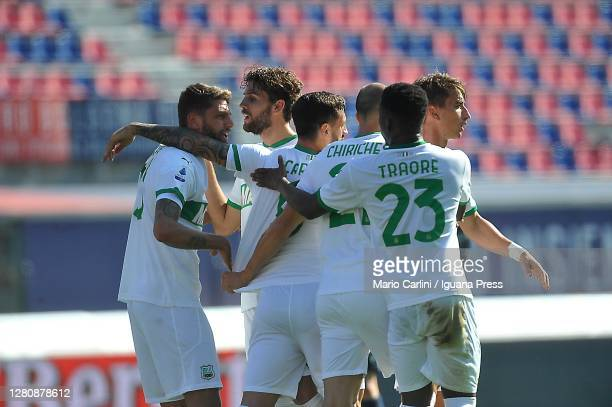 Domenico Berardi of US Sassuolo celebrates after scoring a goal during the Serie A match between Bologna FC and US Sassuolo at Stadio Renato Dall'Ara...