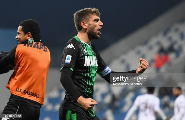 Domenico Berardi of US Sassuolo celebrates after scoring his team second goal during the Serie A match between US Sassuolo and Torino FC at Mapei...