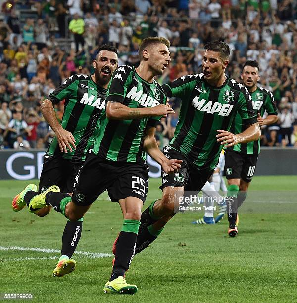 Domenico Berardi of US Sassuolo celebrates after scoring the goal 20 during the Third Qualifying Round Europa League between US Sassuolo and FC...