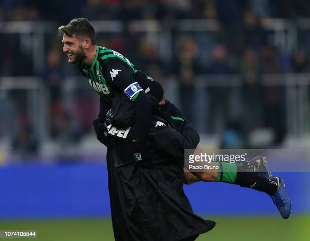 Domenico Berardi of US Sassuolo celebrates after scoring the team's second goal during the Serie A match between Frosinone Calcio and US Sassuolo at...