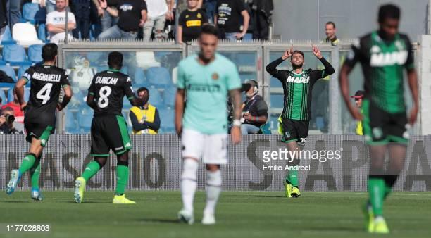 Domenico Berardi of US Sassuolo celebrates his goal during the Serie A match between US Sassuolo and FC Internazionale at Mapei Stadium Citta del...