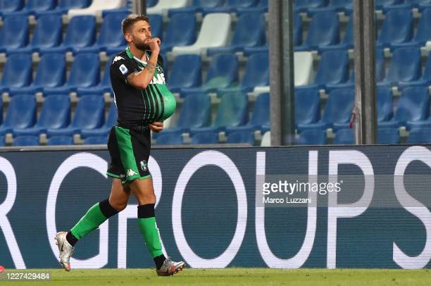 Domenico Berardi of US Sassuolo celebrates his goal during the Serie A match between US Sassuolo and Juventus at Mapei Stadium Città del Tricolore...