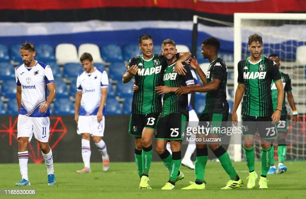 Domenico Berardi of US Sassuolo celebrates his third goal with his team-mates during the Serie A match between US Sassuolo and UC Sampdoria at Mapei...