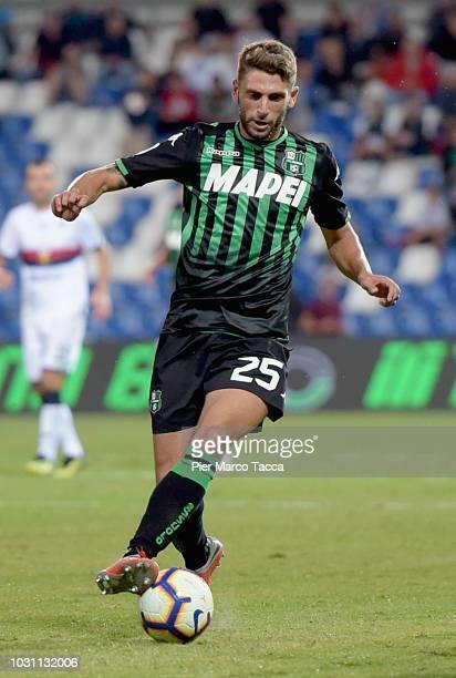 Domenico Berardi of US Sassuolo controls the ball during the serie A match between US Sassuolo and Genoa CFC at Mapei Stadium Citta' del Tricolore on...